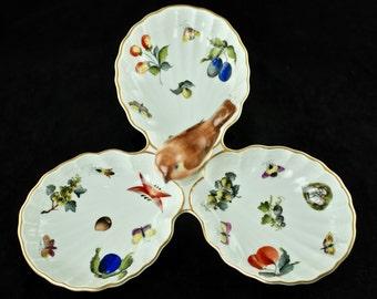 "Vintage Herend ""Market Garden"" Three Part Serving Tray With Bird Finial"