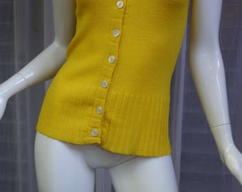 Vintage YSL Yves Saint Laurent Buttercup Yellow Sleeveless Knit Top
