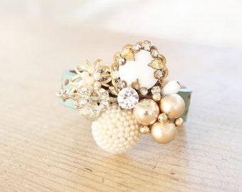 Vintage Pieces Bracelet, Vintage Collage Bracelet, Vintage Cluster Bracelet, Heirloom Bracelet, Vintage Jewelry