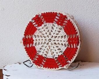 Crochet Napkin Holder Mid Century