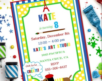 PARIS ART Party INVITATION ~ Personalized Printable Download
