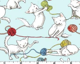 Kittens - Cats Yarn Aqua by Anita Jeram from Clothworks