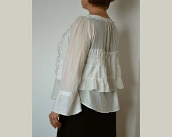 Elegant women's blouse, shabby blouse, artsy unique blouse, romantic blouse, upcycled clothing, recycled blouse, loose blouse