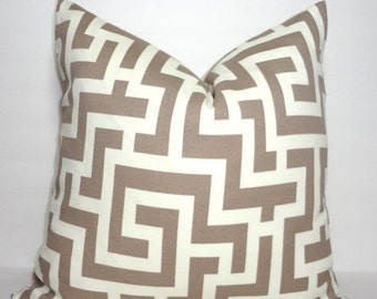 HARVEST SALE OUTDOOR Taupe & Ivory Geometric Pillow Cover Taupe Greek Key Pillow Cover Deck Patio 18x18