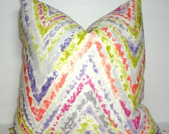 INVENTORY REDUCTION Kaufmann Watercolor Chevron Pink Coral Green Purple Linen Pillow Cover Decorative Throw Pillow Cover Size 18x18