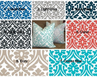 OUTDOOR Pillow Covers Holly Floral Blue Coral Cobalt Navy Ecru Outdoor  Deck Patio Pillow Covers Choose Size