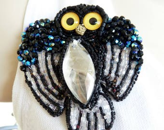 Large Owl Crystal and Seed Bead Art to Wear Brooch Pin OOAK INBW
