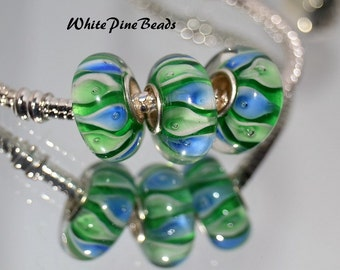 Green and Blue Swirl Handmade Murano Glass Bead Fits European Style Charm Bracelets