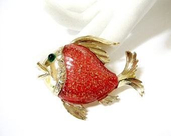 Vintage Fish Brooch with Red Orange Glitter Belly, Fish Pin, AB Rhinestones, Aurora Borealis, pisces, Summer, Beach, gift idea, Excellent