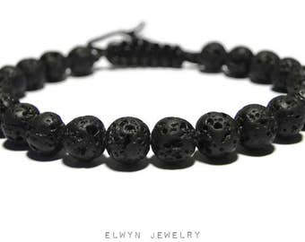 Lava Bracelet, Mens Beaded Bracelet, Cord Bracelet, Mens Jewelry, Black Beaded Bracelet, Lava Stone, Adjustable Bracelet, Fathers Day Gift
