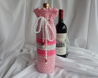 Crochet Wine Bottle Cover Cozy - Pink and White with Heart Charms