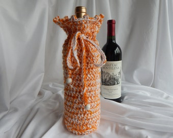 Wine Cozy - Crochet Wine Bottle Covers Sacks Gift Bags - Orange and White with A Sprinkle of Silver Metallic