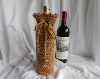 Wine Bottle Cover - Crochet Wine Cozy - Shades of Tan Beige with Wood Beads