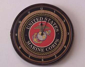 Marine Emblem Barrel Head Wall Clock-FREE SHIPPING