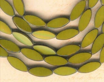 18mm x 7mm Flat Oval, Flat Avocado Green Glass Oval, Picasso Glass, Green Glass Oval, Czech Republic, Antique Green Oval, Avocado Glass Oval