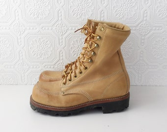 Tan Leather Work Boots, Heavy Duty Lace Ups with Steel Toe, Black Lug Sole, Made in USA, Size 6 Men's or Size 8 Ladies, by LeHigh,  Vintage