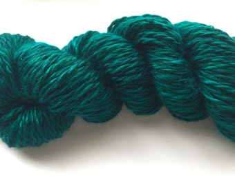 Handspun Yarn, 2-ply Teal Bamboo Yarn
