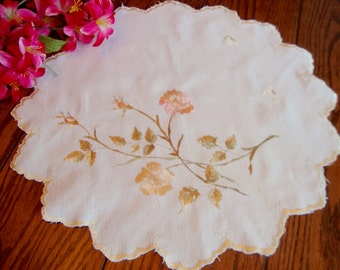 Silk Embroidered Doily Vintage Linen Doily Pink and Gold Floral Silky Embroidery Round Doily