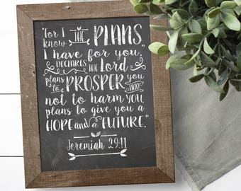 Printable Bible Verse - Christian Wall Art - Christian Decor - Scripture Printable - Jeremiah 29 11 - Gifts Under 5 - Graduation Gifts