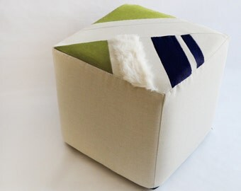 Cube/Ottoman/Modern Pouf/Custom Ottoman/Ivory/Navy Blue/Green/Foot Stool/Nursery Ottoman/Stylish Pillow/Zigzag Studio Design