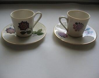 SALE 2 Vintage Demitasse Expresso Cups and Saucers//Art Deco Design//ROYAL Manifattura Porcellane//Italian Design??