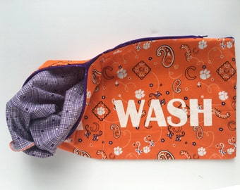 Clemson Tigers Wear and Wash Travel Laundry Bag