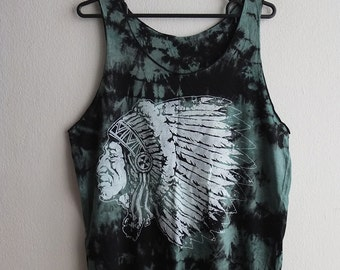 American Indian Chief, tie dyed tank top M
