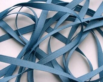 "1/4"" Grosgrain Ribbon -  Antique Blue - 10 yards"
