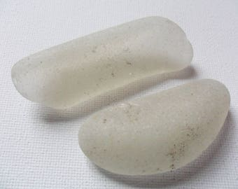 2 long white frosted sea glass - Lovely English beach find pieces