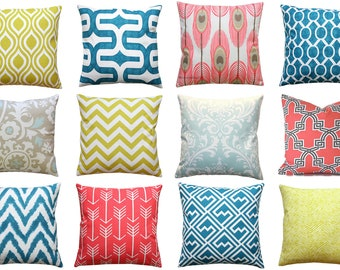 CLEARANCE Coral Throw Pillows, Teal Pillow Cover, Citrine Pillow, 16x16 Zippered Pillow Case, Powder Blue Toss Pillow,  Modern Home Decor