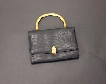 BAGUETTE Clutch Gold Bamboo Handle Textured BLACK Mad Men Purse Handbag Secretary Mod Dolly Retro Modern Mid Century Deco Evening Bag
