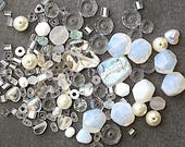 White / Crystal Glass Bead Mix - Assorted Shapes, Sizes And Color Shades - 22 Grams
