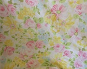Vintage Full Fitted Sheet - Yellow Pink Cabbage Roses - Floral Shabby Chic - French Cottage Decor - Bedding Farmhouse - Bed Linens - Fabric