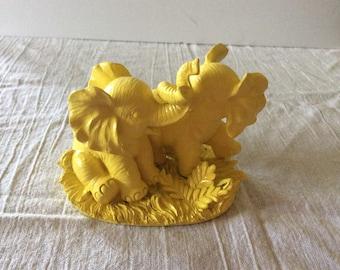 Bright Yellow Elephants Figurine - Hamilton Collection - Nursery Decor Child's Room  - Jungle - Endangered Young Uns - Yellow Grey Nursery