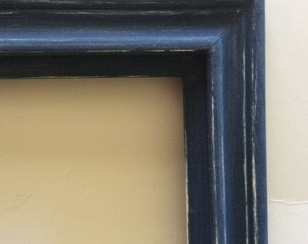 Large Navy Blue Frame - Vintage Wood - Shabby  Cottage Chic - Beach - Wedding Picture Frames - Distressed - Nautical - Boys Room - Nursery