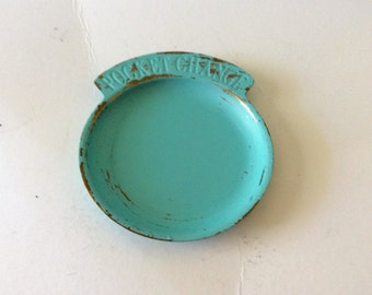 Pocket Change Dish - Painted Aqua Turquoise Distressed - Change Holder - Coins Keys - Trinket Dish - Bedroom - Shabby Cottage Chic - Beach