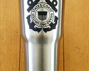 Coast Guard 30 oz RTIC Engraved Tumbler Stainless Steel