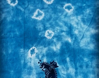 Dragon tea towel, hand printed and dyed with natural indigo dye. 100% cotton.