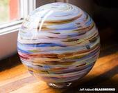 Hand Blown Glass Float - Multicolor Streaks