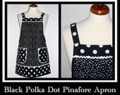 Black Polka Dot Pinafore Apron, no tie apron (comfortable all day) 3 sizes fit XS to Plus Size, loose fitting smock great for maternity