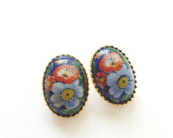 Mosaic Clip on Earrings - Vintage Made in Italy