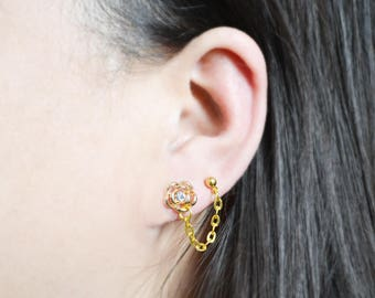 Gold Rose Double Lobe Pierce Cartilage Earring (Pair)