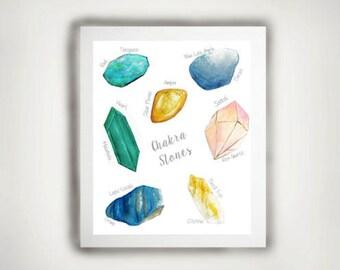 Digital Download-Chakra Stones- Chakra Crystals-Instant download- watercolor chakra- watercolor crystals-watercolor stones-yogi-poster