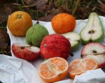 3 pairs of REAL LIFE FRUITS - needle felted & personalised order - made to order