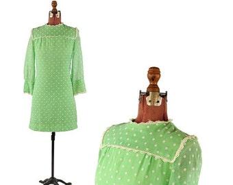 SALE Vintage 1960's Bright Lime Green Sheer Cotton Mod Polka Dot Mini Shift Baby Doll Dress S