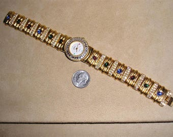 Vintage Signed Pierre Jacquard Rhinestone Watch Bracelet With Baguettes And Glass stones 1980's Jewelry 10091