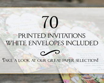 Set of 70 printed invitations/cards- White envelopes included