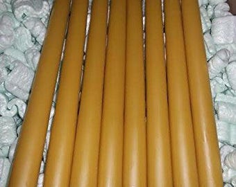 """30 Beeswax taper candles 12"""" x 3/4"""" NATURAL COLOR - Free Shipping"""