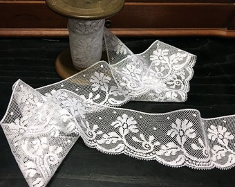 "FREE SHIPPING - 2 1/8"" wide French Heirloom White Lace Edging"