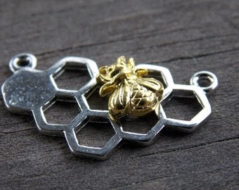 4 Silver Honeycomb Connectors with Gold Bee 25mm